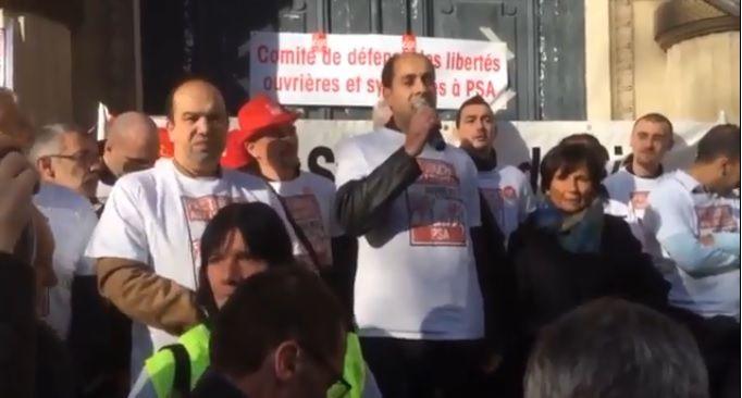 Rassemblement de soutien aux militants CGT PSA Poissy (capture d'écran vidéo NPA)
