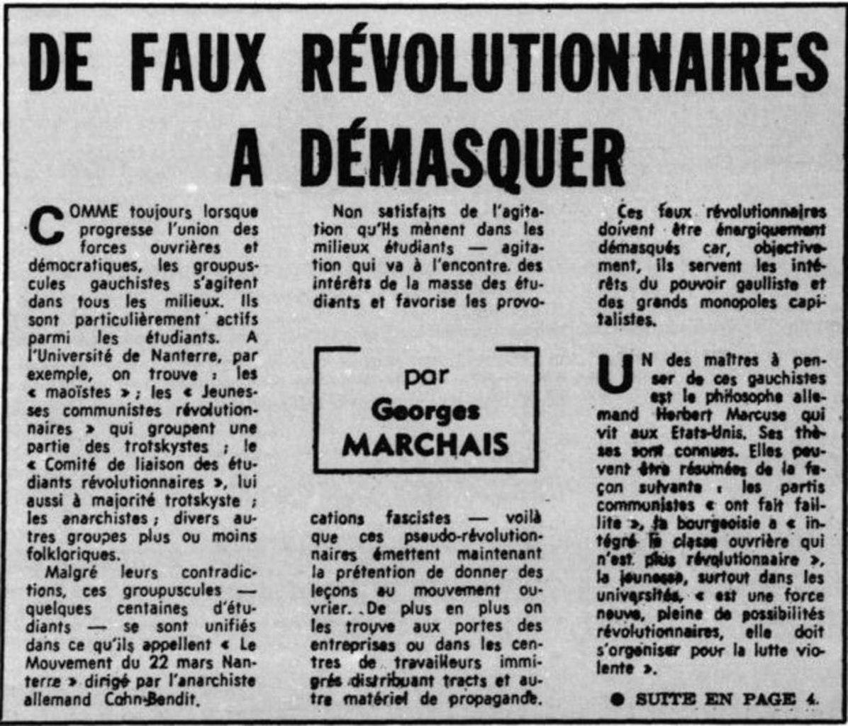 Une pièce historique non tronquée : MAI 68, la mise en garde de Georges MARCHAIS contre L'ANTICOMMUNISME