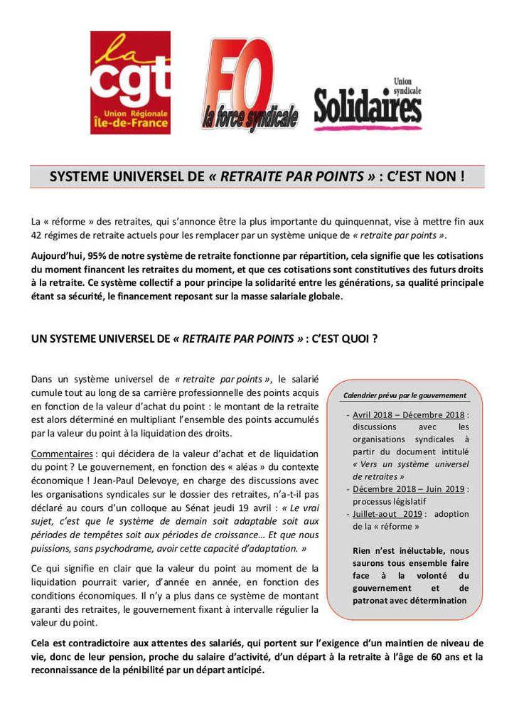 """Système universel de """"RETRAITE PAR POINTS"""" : c'est NON ! (CGT-FO-Solidaires)"""