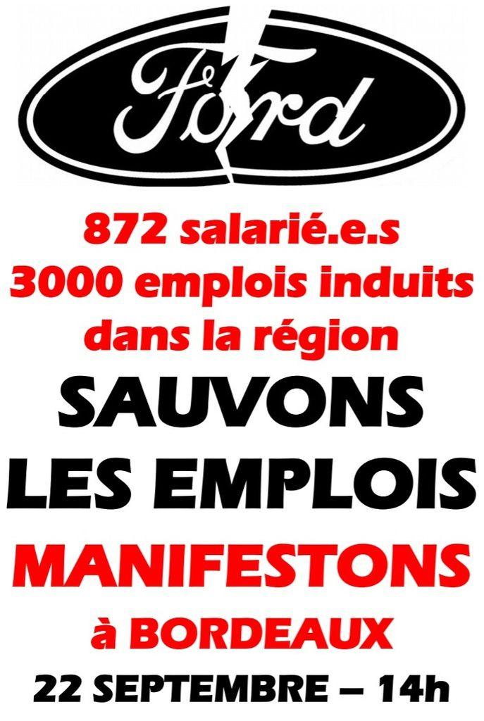 Sauvons les EMPLOIS à FORD Blanquefort: MANIFESTATION à Bordeaux - samedi 22 septembre 2018