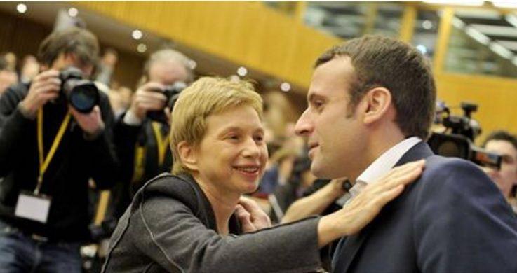 L. Parisot avec E. Macron  (photo d'illustration)