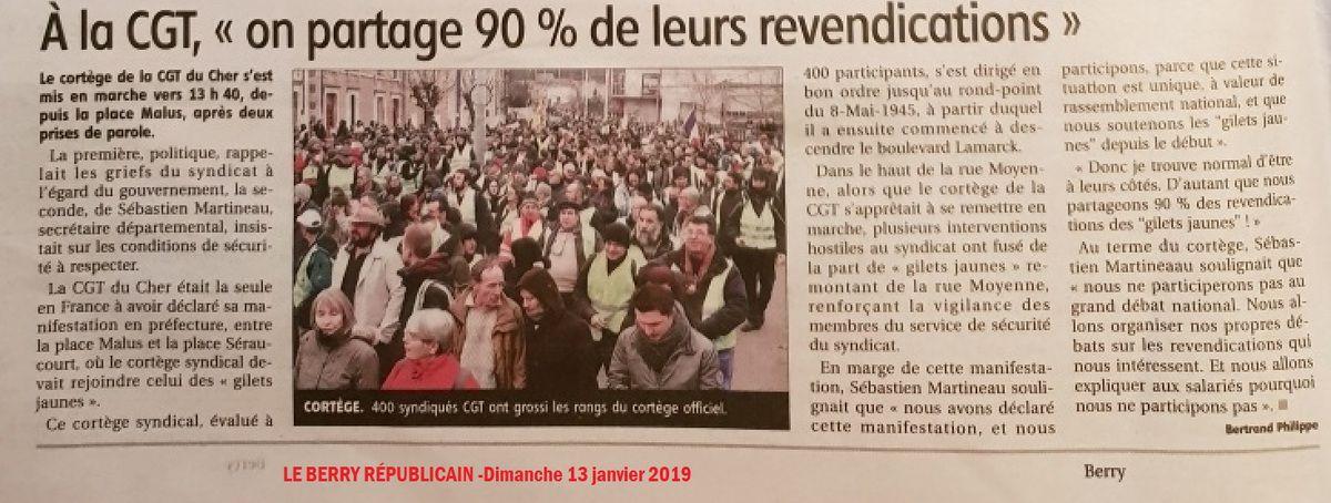 CGT et GILETS JAUNES à Bourges le 12 janvier dernier: pour la CONVERGENCES des luttes, compte-rendu d'une journée de MOBILISATON