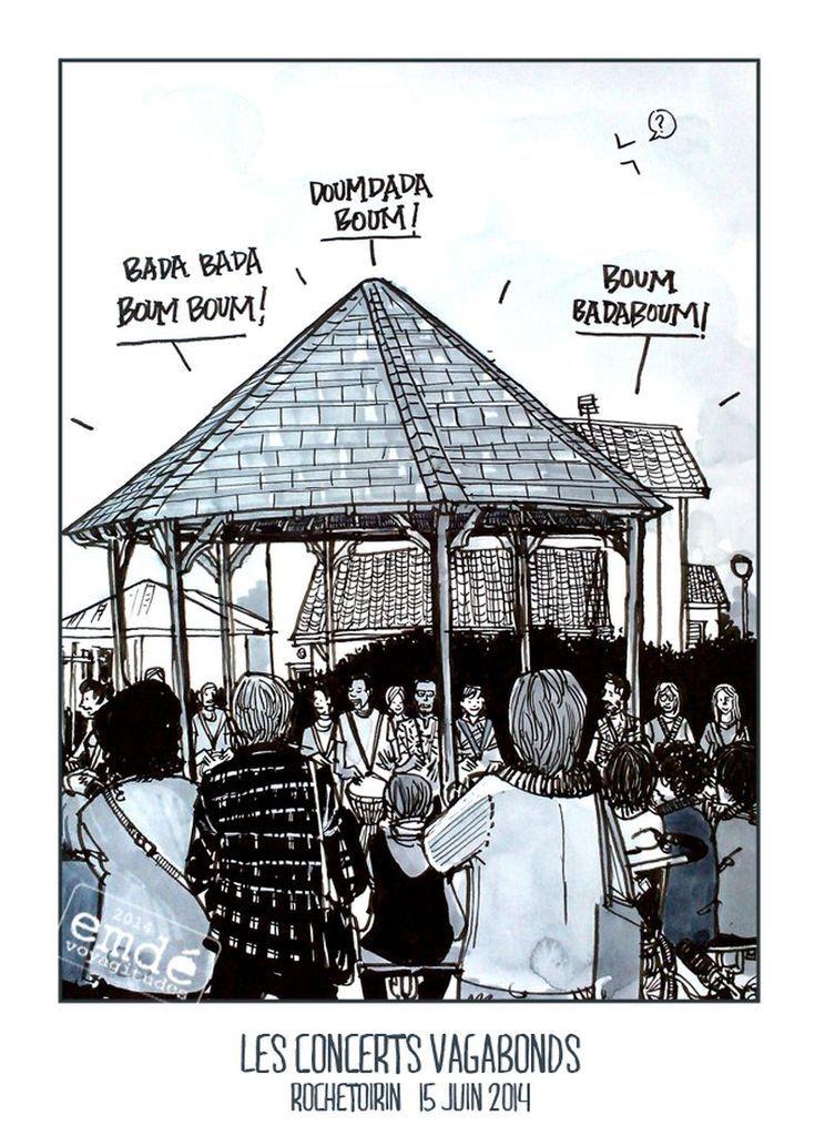 Les concerts vagabonds, Rochetoirin // croquis de balade musicale // emdé, 2014