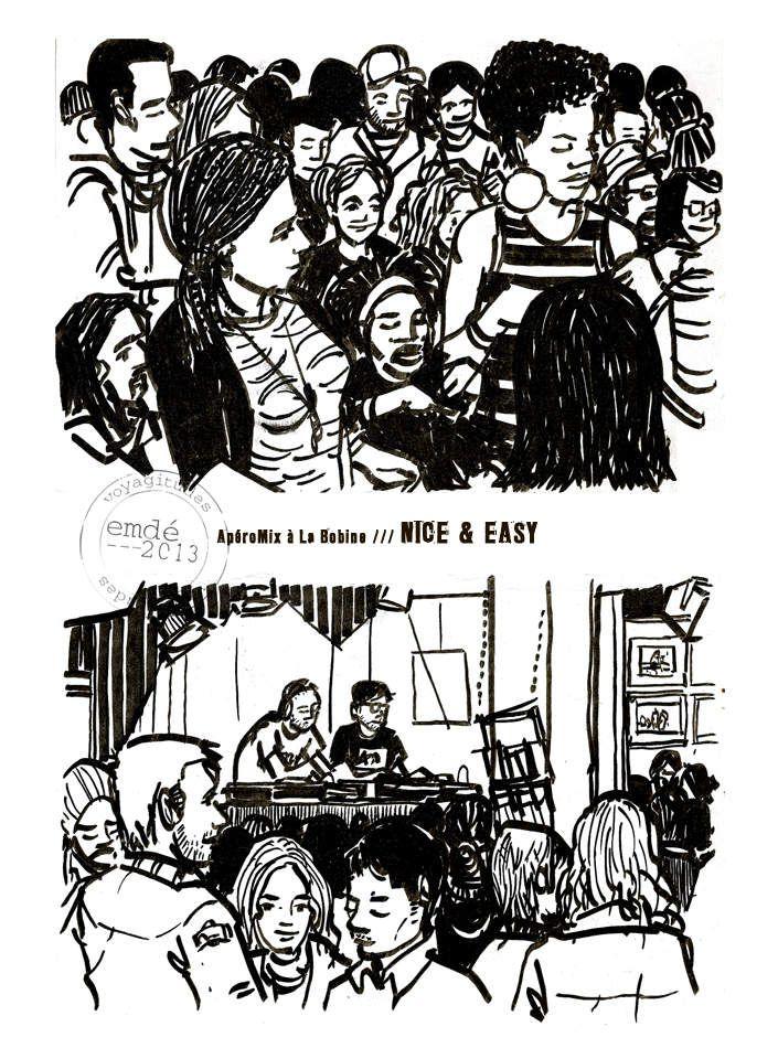 Nice & Easy à La Bobine, Grenoble // croquis de concerts // emdé, 2013
