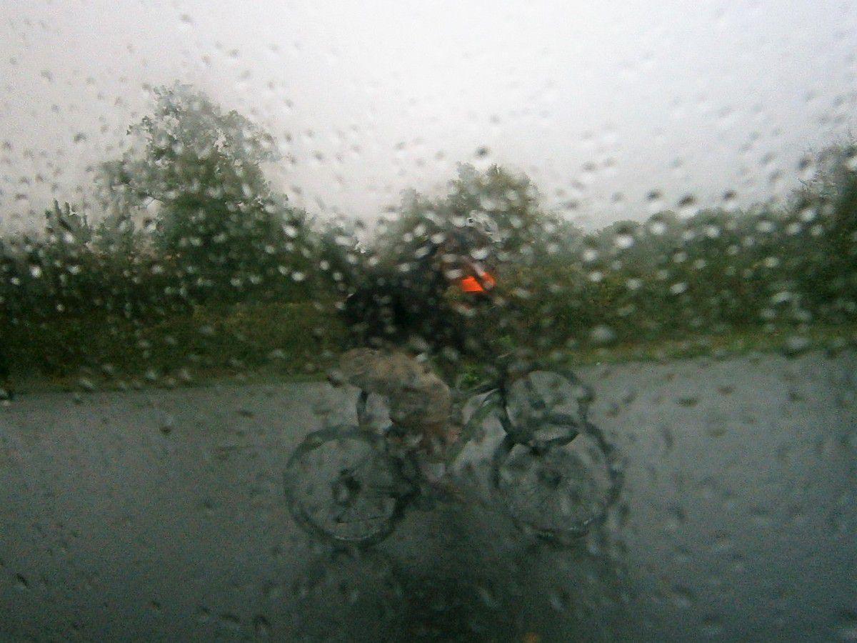 Nous repartons aux véhicules . Il pleut , il pleut !! Tous aux abris .