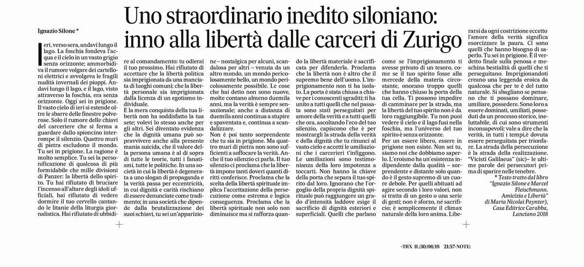 """""""Monologo di Ignazio Silone da leggere tutto d'un fiato e da diffondere sui social."""" (Antonio Gasbarrini)"""