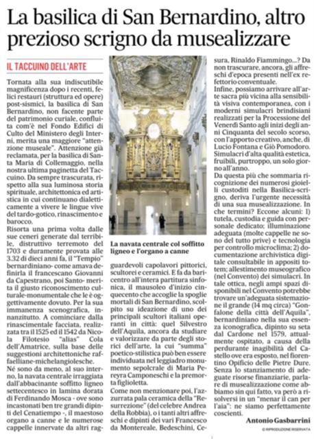 IL MESSAGGERO 06/01/2020: LA BASILICA DI SAN BERNARDINO, ALTRO PREZIOSO SCRIGNO DA MUSEALIZZARE di ANTONIO GASBARRINI