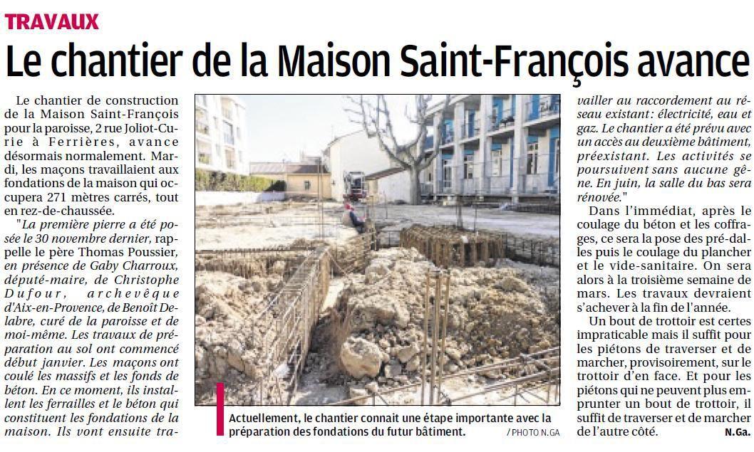 """DANS LA PROVENCE : """"LE CHANTIER DE LA MAISON SAINT FRANCOIS AVANCE"""""""
