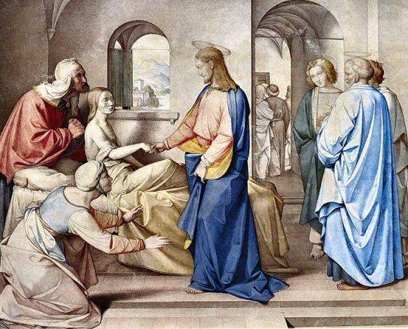 Le Christ ressuscitant la fille de Jaïre, par Friedrich Overbeck (1815). Homélie du Père Thomas Poussier dimanche 28 juin.