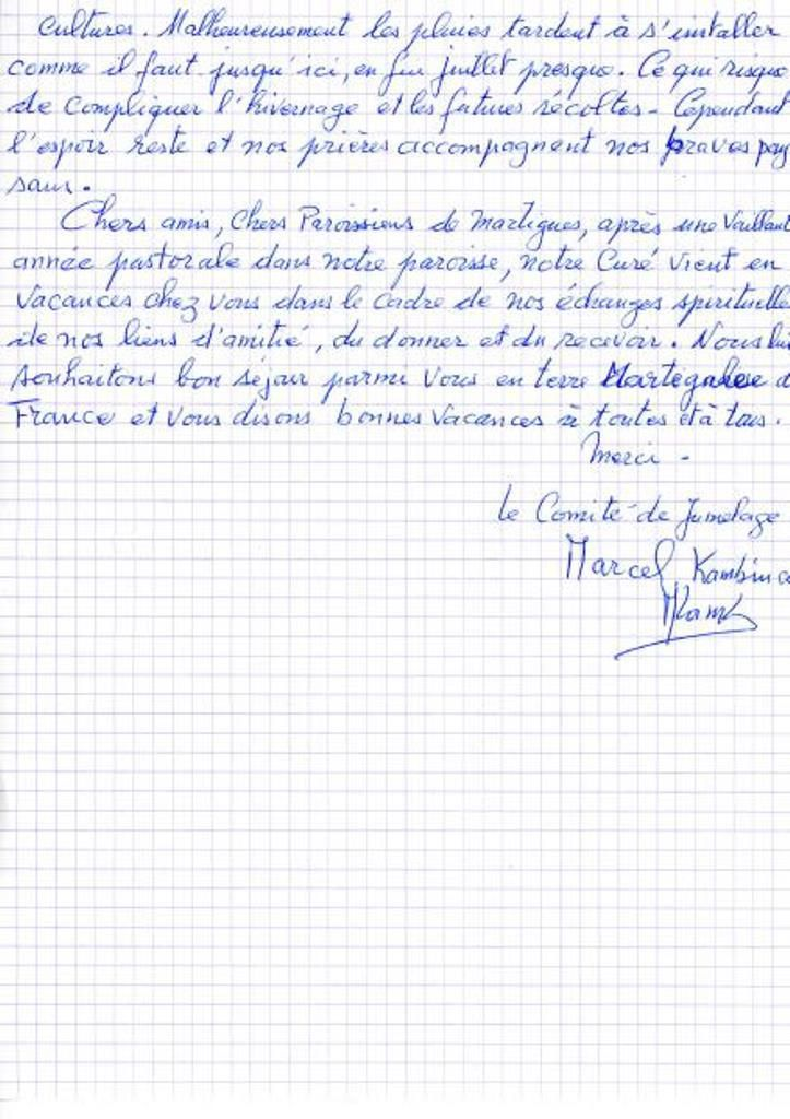 UN MESSAGE AUX MARTEGAUX DU COMITE DE JUMELAGE DE MAMPATIM