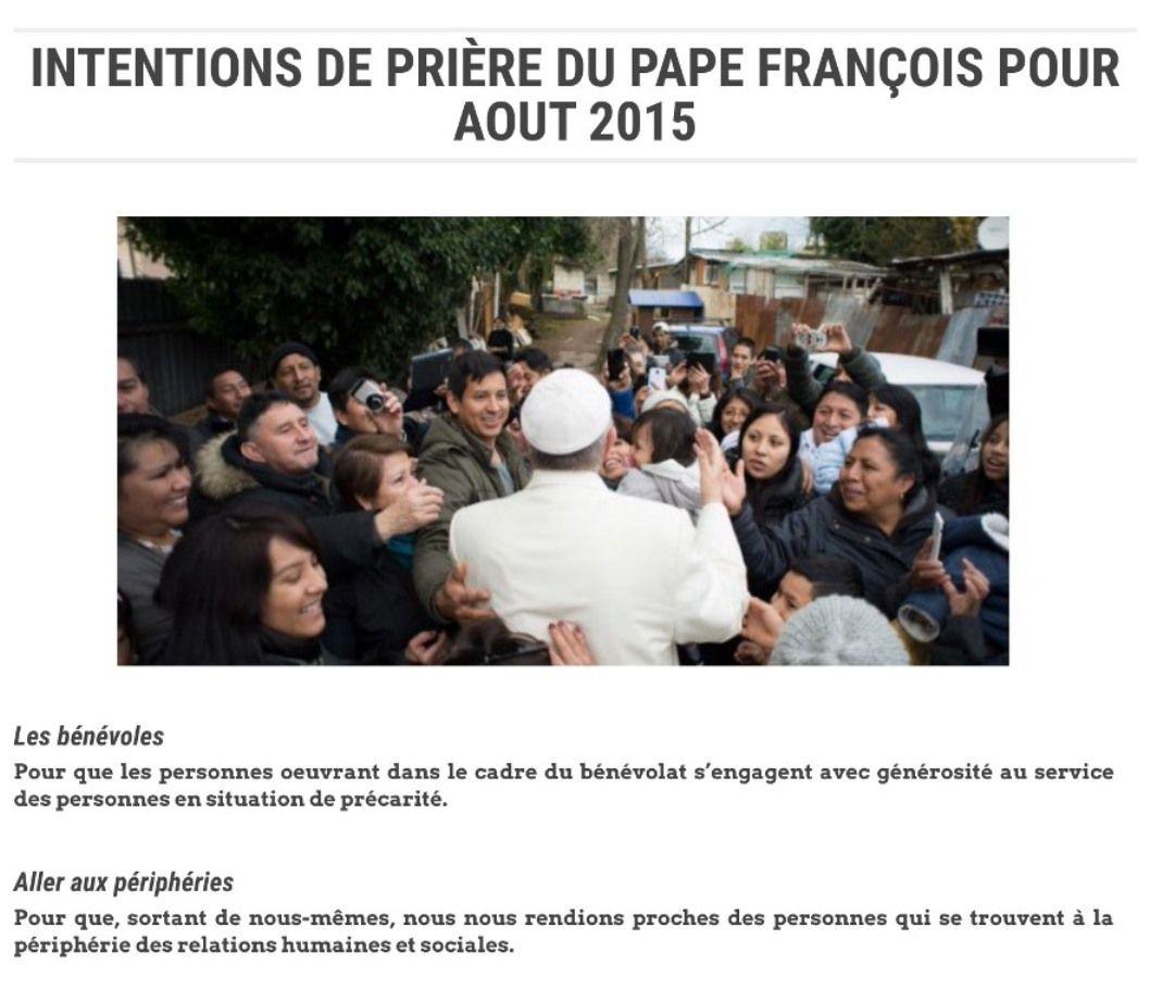 Intentions de prière du Pape pour le mois d'août