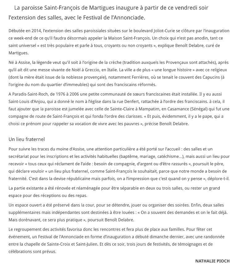 LA MAISON SAINT FRANCOIS, LE NOUVEL ACCUEIL DANS LA MARSEILLAISE