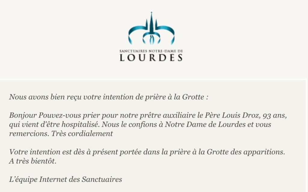 UNE INTENTION DE PRIERE A LOURDES