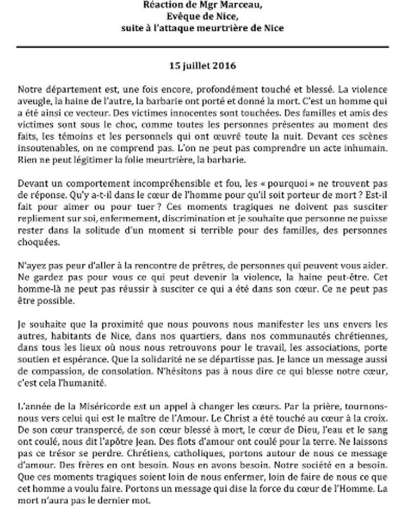 """Réaction de Mgr Marceau,  évêque de Nice,  suite à l'attaque meurtrière de Nice : """"Ne restez pas seuls !"""""""