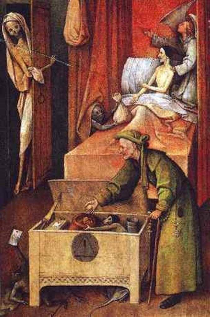 « La mort de l'avare » Jérôme Bosch (1450-1516) National Gallery of Art, Washington.