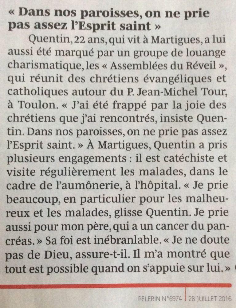 Le Pèlerin du 28 juillet : Quentin de Martigues