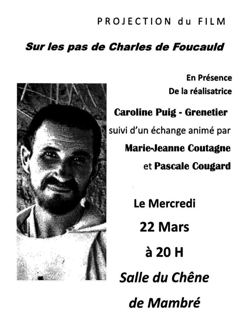 Projection et débat, film sur Charles de Foucauld. Mercredi 22 mars à 20h à Aix