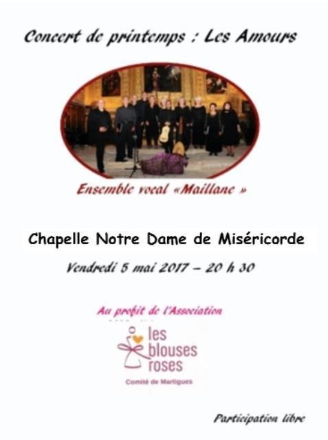 Chapelle Notre Dame de Miséricorde : concert au profit de l'association les blouses roses, participation libre