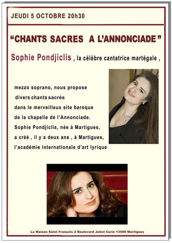 Jeudi 5 octobre à 20h30 : Chants sacrés à l'Annonciade