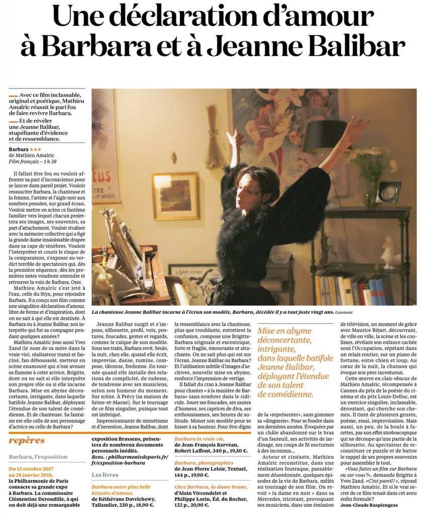 LES FILMS DU MOIS : 'BARBARA' ET 'UNE FAMILLE SYRIENNE'