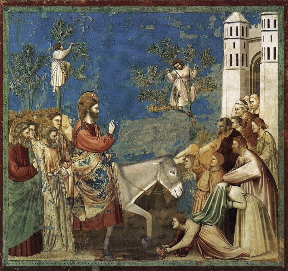 Entrée de Jésus dans Jérusalem, par Giotto, XIVe siècle.