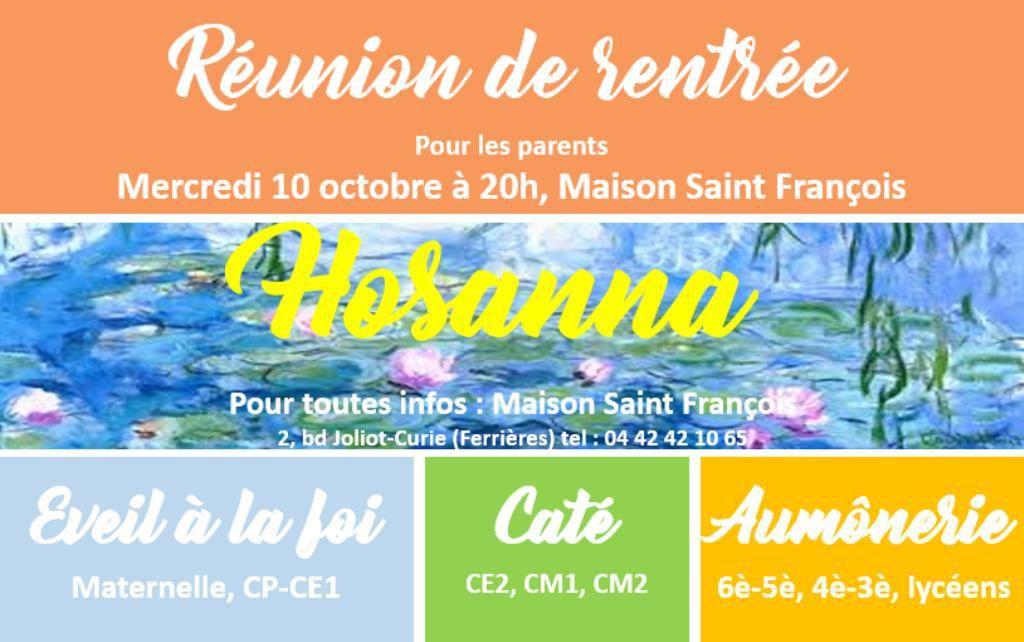 Mercredi 10 Octobre, 20h, à la Maison St-François, réunion pour tous les parents de l'éveil à la foi, du catéchisme et de l'aumônerie. Il est toujours possible d'inscrire les enfants !