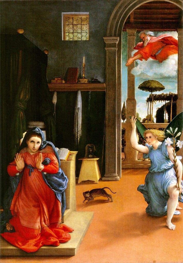 Lorenzo Lotto (1460-1524) L'Annonciation peint vers 1528, Museo civico Colloredo, Recanati.