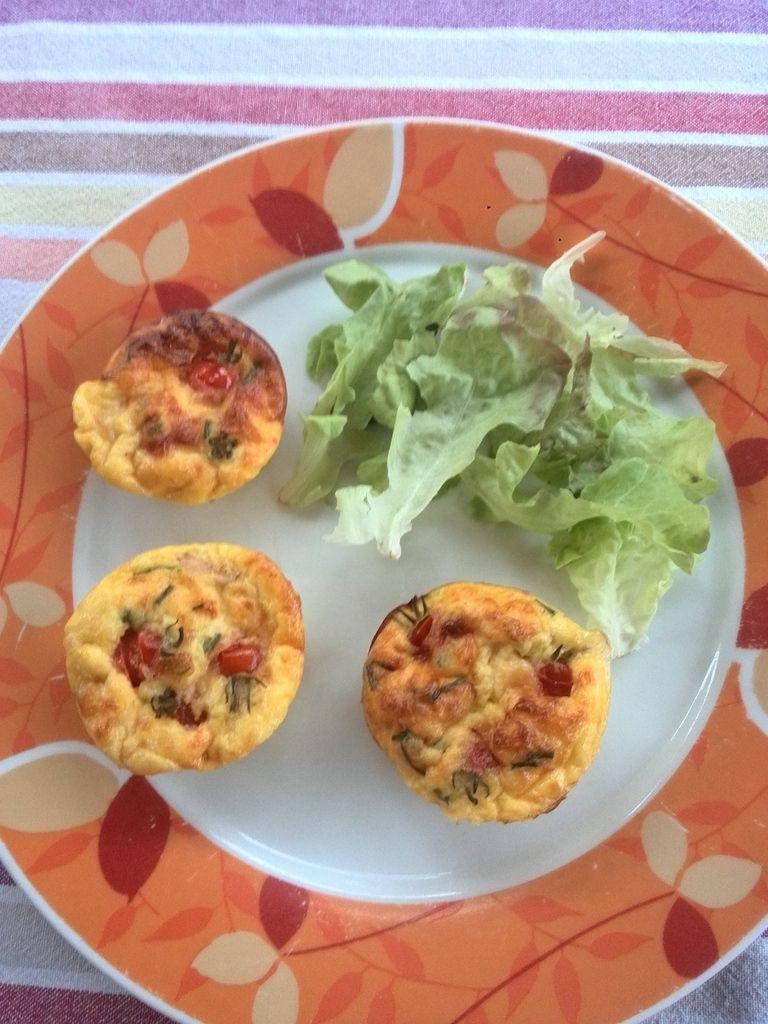 Minis Frittatas au comté lardons et tomates cerises