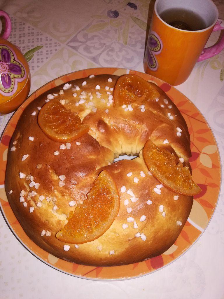couronne de Brioche au sucre perlé et oranges confites au thermomix