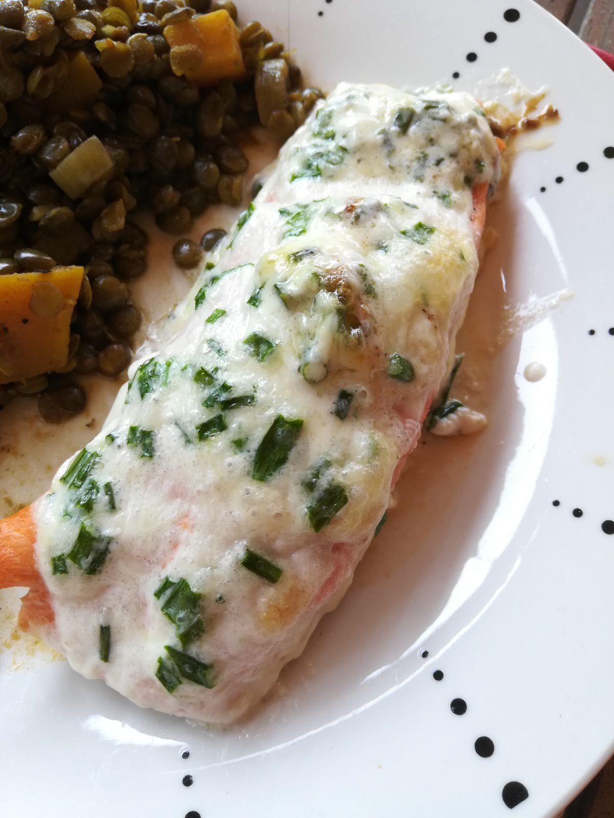 saumon au four à la crème et ciboulette