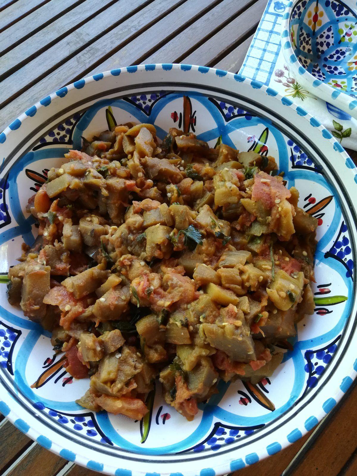 zaalouk salade d'aubergine grillée Marocaine