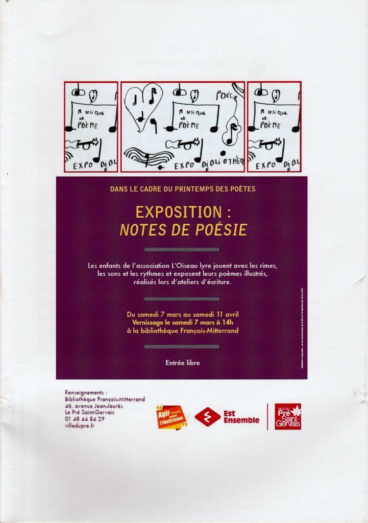 """Catalogue de l'exposition """"NOTES DE POESIE"""" 2015"""