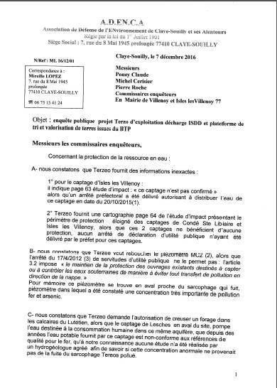 ADENCA a collé ce jour sa réponse à l'enquête publique sur le registre de Villenoy