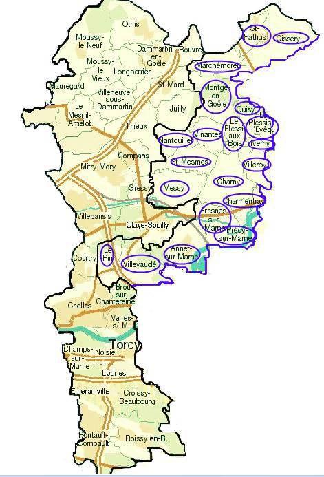 Les communes entourées en violet ne bénéficieront pas du Plan de Prévention du Bruit et de l'Environnement alors que les communes voisines en bénéficieront.