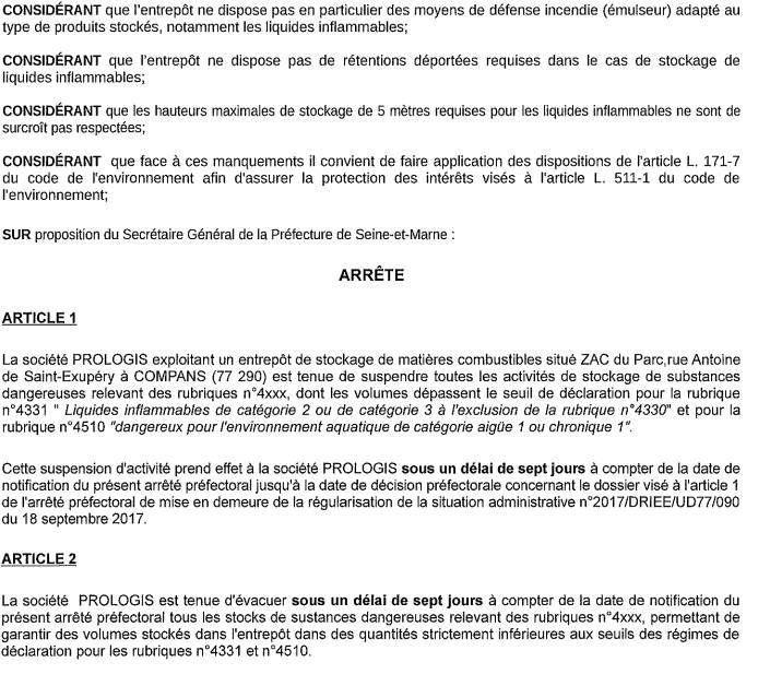 Inquiétude à Compans: Prologis stockait illégalement des substances dangereuses!