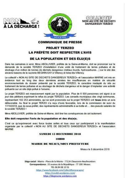 Manifestation demain à Meaux contre le projet de décharge de déchets dangereux Terzeo