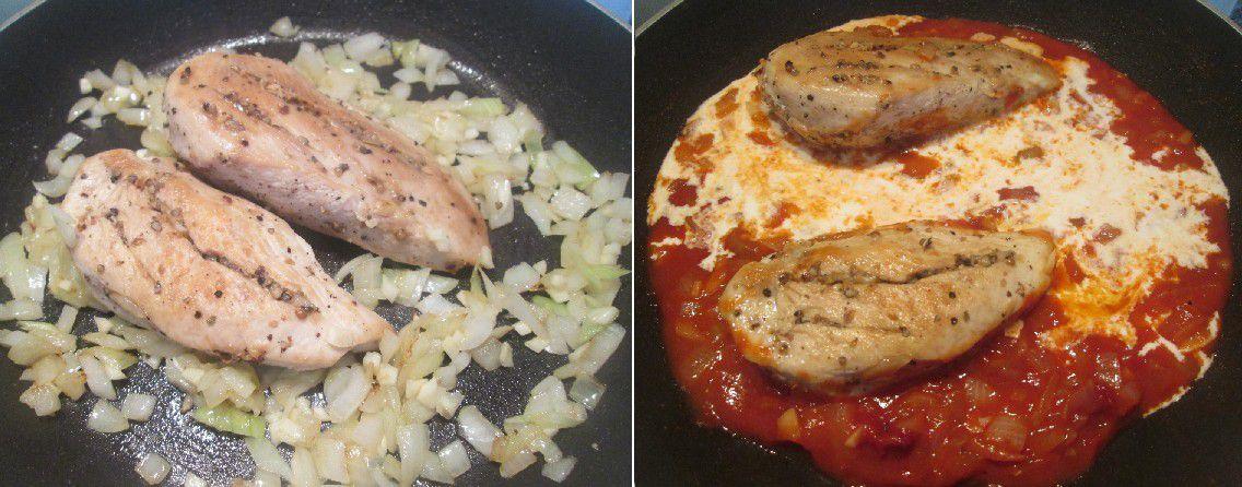 Blanc de Poulet Farci à l'Ail; Sauce Tomatée ...