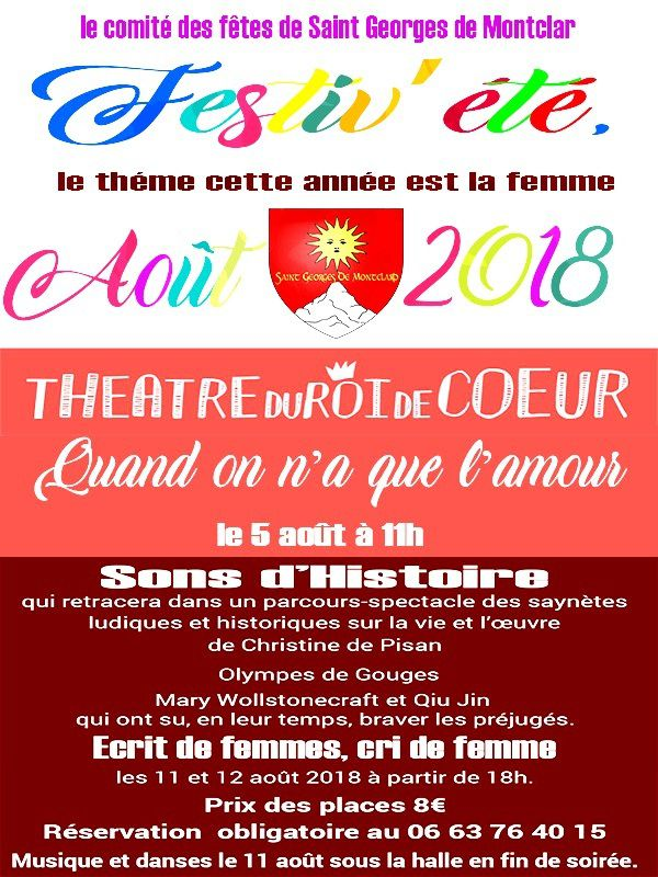 Festiv'été les 05-11 et 12 août à St Georges de Montclar.