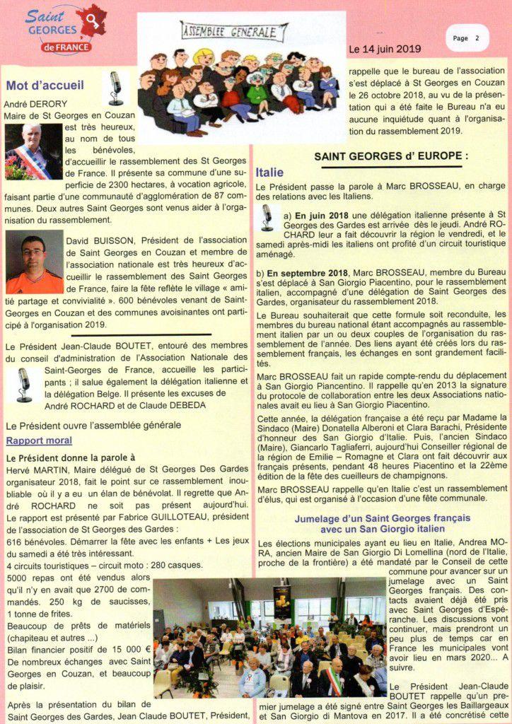 Association Nationale des St Georges de France - Flash info 2020.