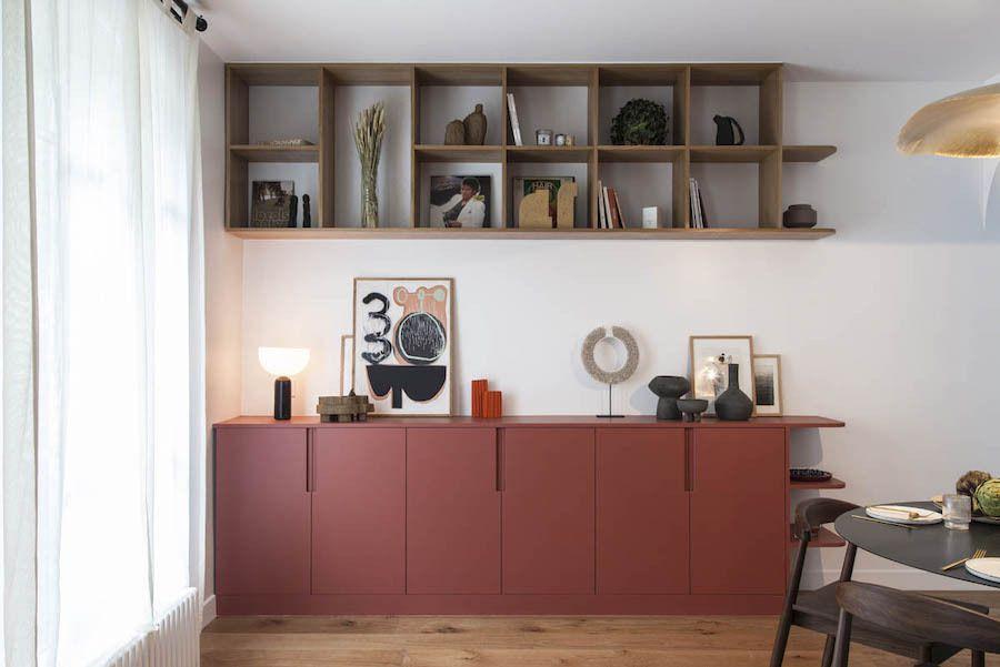 Un meuble terracota pour un petit appartement