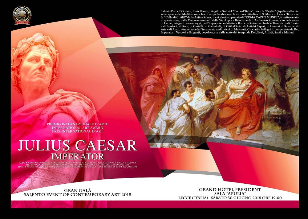 "Prix International d'Art 2018 ""Julius Caesar Empereur "" Lauréate  Accademia Italia In Arte Nel Mondo"