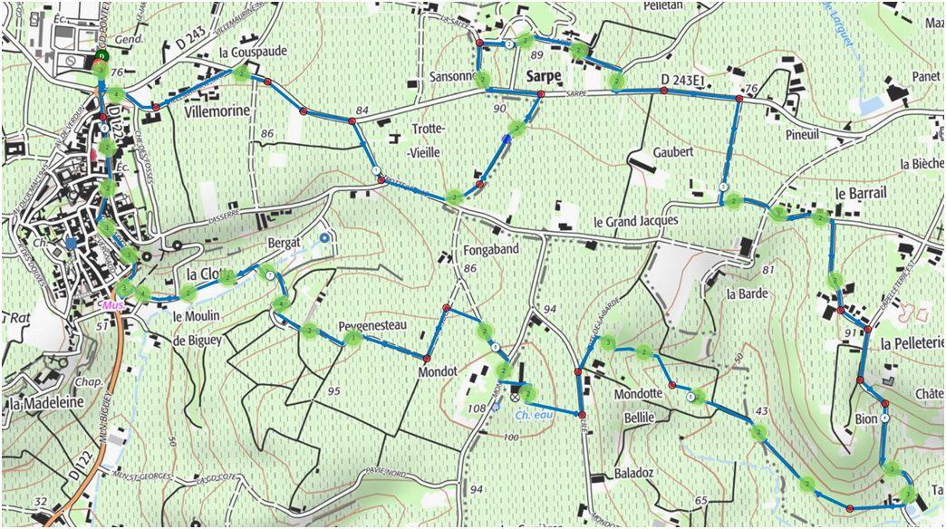 St Emilion - Haut Sarpe  - La carte de la randonnée (8,2 Km) et le détail du départ et de l'arrivée en ville