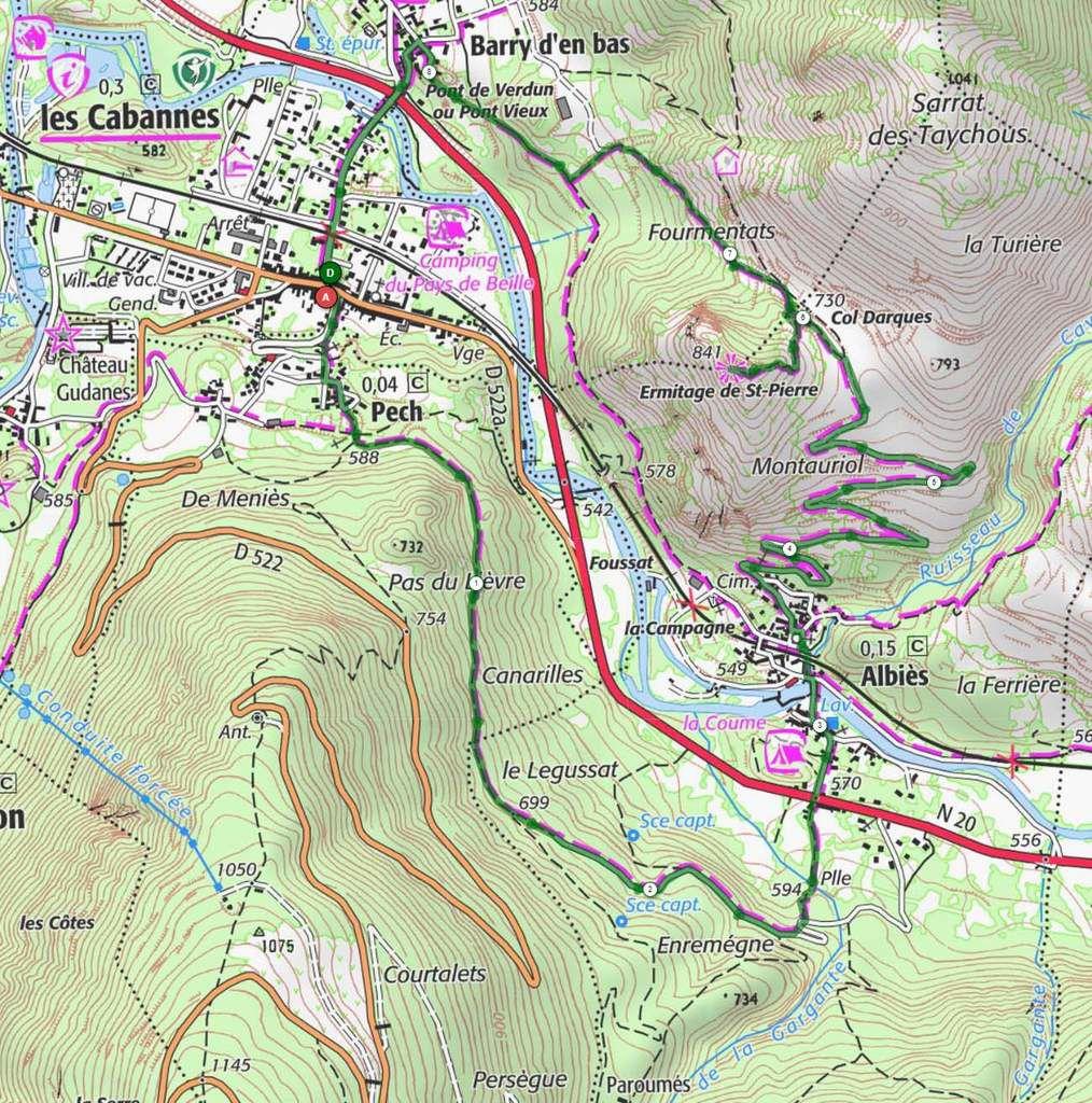 La rando de l'Ermitage, en vert sur la carte.  Pour une variante plus facile, on peut prendre l'itinéraire en rose depuis Albiès.