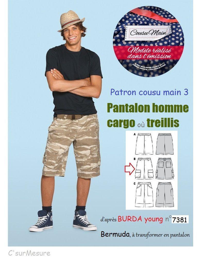 patron recommandé par burda pour faire votre pantalon = rallonger le bermuda en pantalon.T44àT56