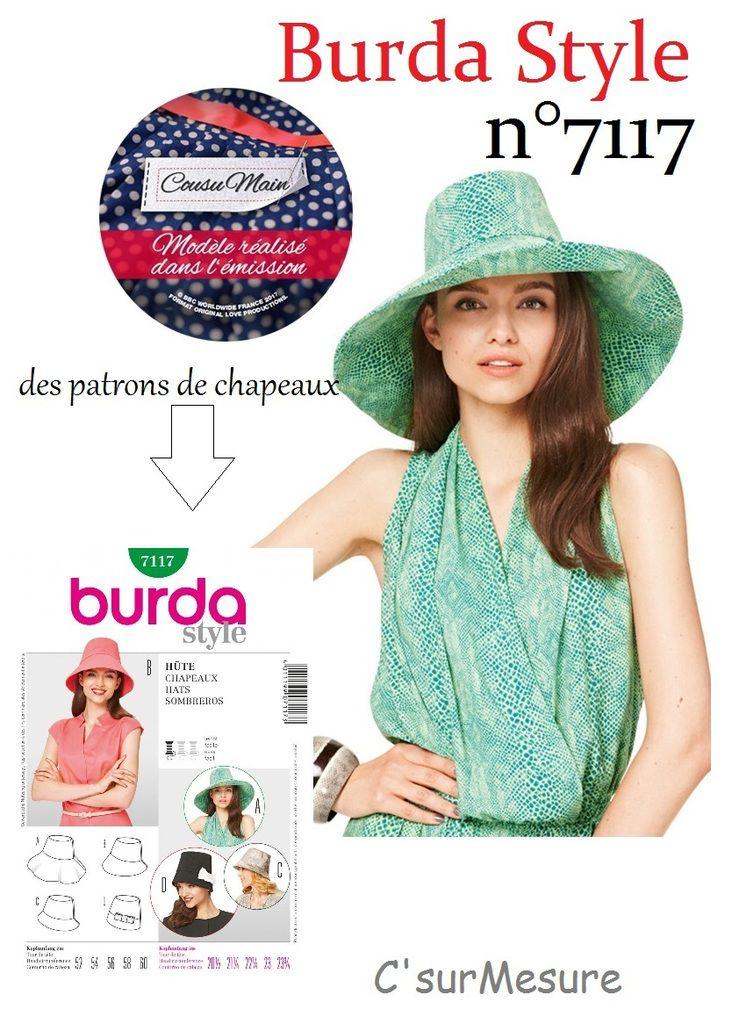 des patrons de chapeaux, aussi d'après le Burda style n°7117.