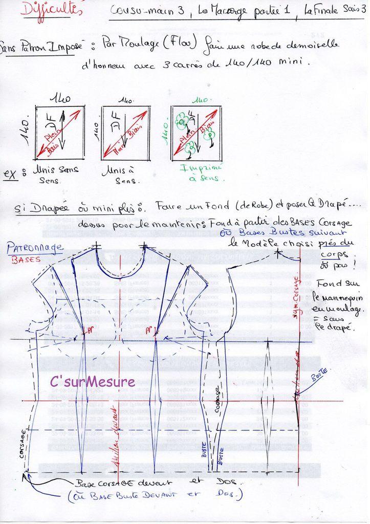 utiliser 3 tissus de 140x140 : draper, mini plis, godets... par Moulage flou.