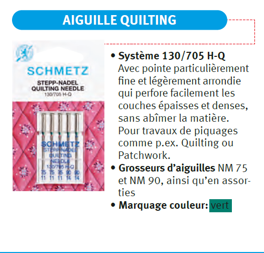 Aiguille Quilting où patchwork