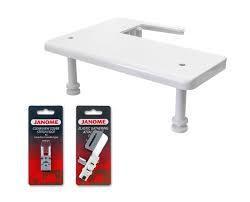 kit d'extension : une table rallonge + un guide élastique + le pied transparent.