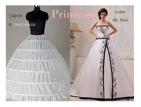 """jupon 6 cerceaux pour robe"""" princesse""""de bal."""