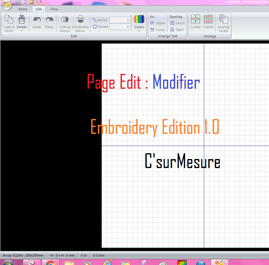 5 Modifier, Edit d'embroideryEditor janome.